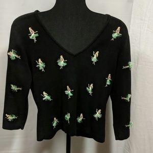 Sweaters - Alexandra Bartlett size M black hula girl sweater